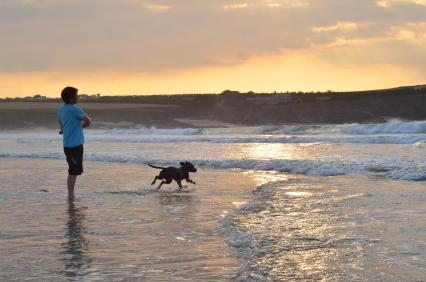 Zabawy z psem (Północne wybrzeże Kornwalii)