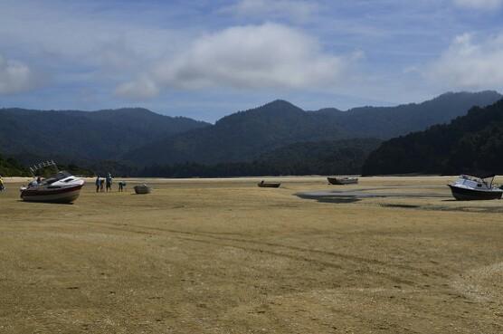 W czasie odpływu nawet łódki mają wolne i się opalają, a w tle kilka osób wykorzystuje dno ujścia rzeki do gry w golfa