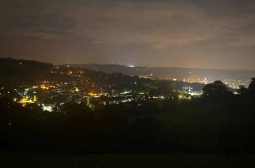 Nocny widok na Bath - początek trasy